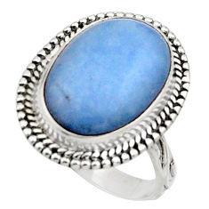 10.60cts natural blue owyhee opal 925 silver solitaire ring size 8.5 r11550