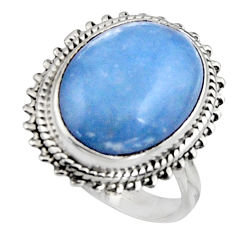 9.86cts natural blue owyhee opal 925 silver solitaire ring size 7.5 r11552