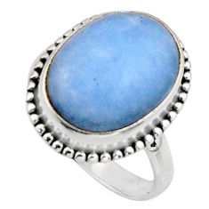 10.49cts natural blue owyhee opal 925 silver solitaire ring size 8 r11553