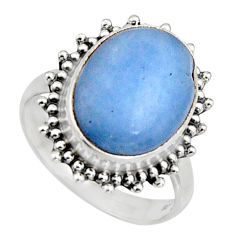 925 silver 7.35cts natural blue owyhee opal oval solitaire ring size 8.5 r11555