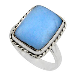 7.67cts natural blue owyhee opal 925 silver solitaire ring size 8.5 r11557