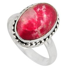 5.82cts natural pink thulite 925 silver solitaire ring jewelry size 7.5 r11562
