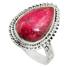 5.63cts natural pink ruby zoisite 925 silver solitaire ring size 6 r11564