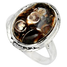 Natural turritella fossil snail agate 925 silver solitaire ring size 8.5 r11567