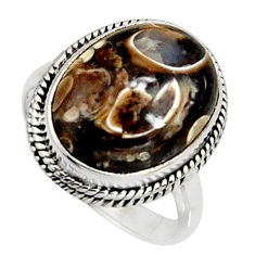Natural turritella fossil snail agate 925 silver solitaire ring size 8.5 r11568