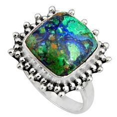 7.24cts natural malachite in chrysocolla silver solitaire ring size 7.5 r11569