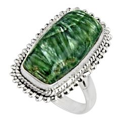 8.83cts natural green seraphinite 925 silver solitaire ring size 7.5 r11572