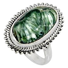 9.86cts natural green seraphinite 925 silver solitaire ring size 7 r11573