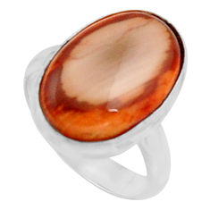 9.86cts natural brown imperial jasper 925 silver solitaire ring size 7 r11581