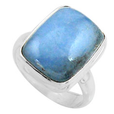 10.37cts natural blue owyhee opal 925 silver solitaire ring size 7.5 r11583