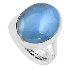 12.42cts natural blue owyhee opal 925 silver solitaire ring size 7 r11587