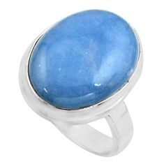 12.83cts natural blue owyhee opal 925 silver solitaire ring size 7.5 r11590