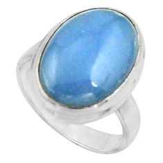 9.47cts natural blue owyhee opal 925 silver solitaire ring size 7.5 r11592