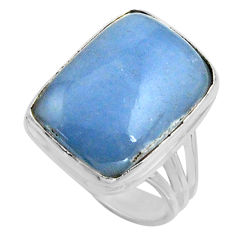 13.79cts natural blue owyhee opal 925 silver solitaire ring size 8 r11597