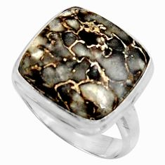 13.71cts natural dinosaur bone fossilized silver solitaire ring size 9 r11601