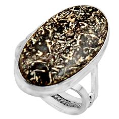 15.97cts natural dinosaur bone fossilized silver solitaire ring size 8 r11602
