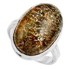 14.47cts natural dinosaur bone fossilized silver solitaire ring size 8.5 r11603