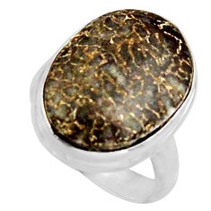 13.69cts natural dinosaur bone fossilized silver solitaire ring size 7.5 r11604
