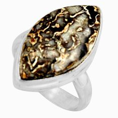 925 silver natural brown dinosaur bone fossilized solitaire ring size 7.5 r11605