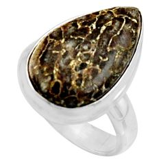 11.64cts natural dinosaur bone fossilized silver solitaire ring size 6.5 r11606