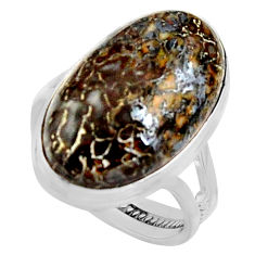 15.97cts natural dinosaur bone fossilized silver solitaire ring size 8 r11608