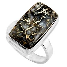 10.02cts natural dinosaur bone fossilized silver solitaire ring size 7 r11610