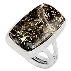 12.40cts natural dinosaur bone fossilized silver solitaire ring size 8 r11611