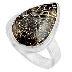8.80cts natural dinosaur bone fossilized silver solitaire ring size 6.5 r11612