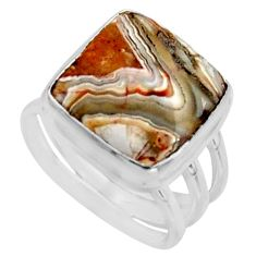 9.04cts natural mexican laguna lace agate silver solitaire ring size 6.5 r11615