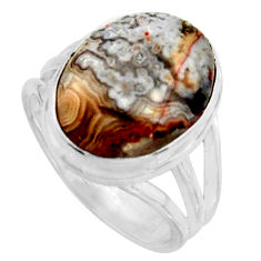 9.33cts natural mexican laguna lace agate silver solitaire ring size 7 r11616