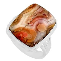 15.33cts natural mexican laguna lace agate silver solitaire ring size 8.5 r11617