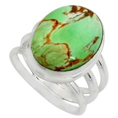 10.24cts natural green variscite 925 silver solitaire ring size 6.5 r11622