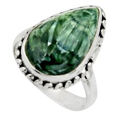925 silver 7.53cts natural green seraphinite pear solitaire ring size 7 r11623
