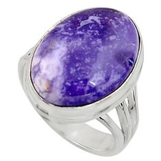 925 silver 13.69cts natural purple tiffany stone solitaire ring size 8 r11630