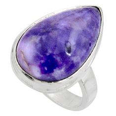 14.23cts natural purple tiffany stone 925 silver solitaire ring size 7 r11631