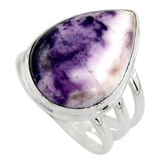 14.47cts natural purple tiffany stone 925 silver solitaire ring size 8 r11632