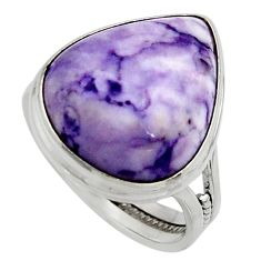 14.90cts natural purple tiffany stone 925 silver solitaire ring size 9 r11636