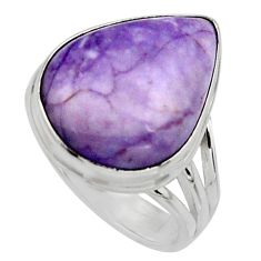 13.24cts natural purple tiffany stone 925 silver solitaire ring size 8 r11638