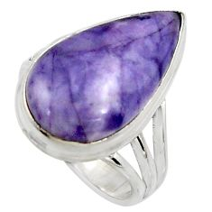 12.34cts natural purple tiffany stone 925 silver solitaire ring size 8 r11639