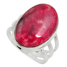 17.38cts natural pink thulite oval 925 silver solitaire ring size 8.5 r11641