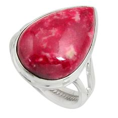 15.93cts natural pink thulite 925 silver solitaire ring jewelry size 8 r11642