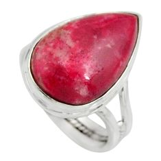 925 silver 10.32cts natural pink thulite solitaire ring jewelry size 7.5 r11644