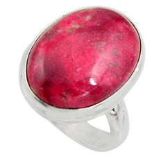 13.77cts natural pink thulite oval 925 silver solitaire ring size 7.5 r11645