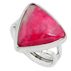 13.71cts natural pink thulite 925 silver solitaire ring jewelry size 8 r11647