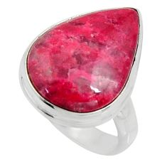 14.72cts natural pink thulite pear 925 silver solitaire ring size 7.5 r11650