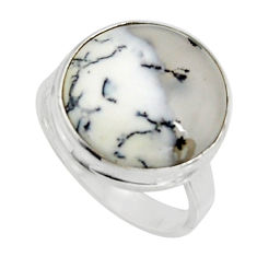 12.07cts natural white dendrite opal 925 silver solitaire ring size 9 r11657