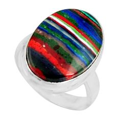 13.70cts natural rainbow calsilica 925 silver solitaire ring size 7 r11661