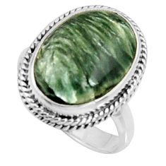 9.86cts natural green seraphinite 925 silver solitaire ring size 7 r11670