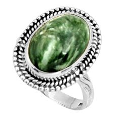 925 silver 7.12cts natural green seraphinite oval solitaire ring size 8 r11671