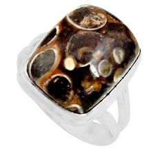 Natural turritella fossil snail agate 925 silver solitaire ring size 8.5 r11672